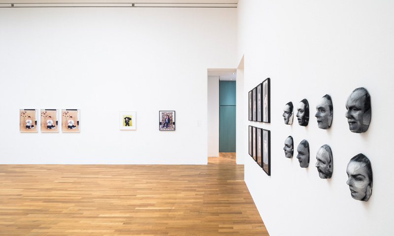 "Photographers masks of death & Schöne Frauen (right) next to works of Annette Kelm (left), ""Mit anderen Augen"",Kunstmuseum Bonn, 2016"